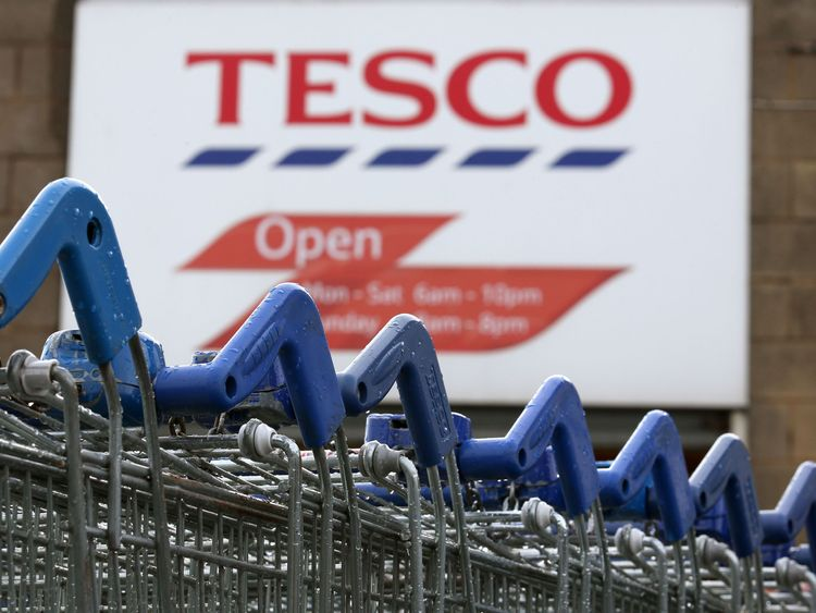 Trolleys at the Tesco Superstore in Kirkcaldy which is to close it was announced today