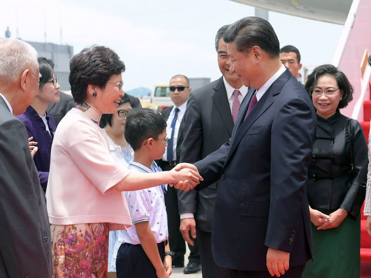 Chief executive-elect Carrie Lam was there to greet the Chinese president upon his arrival