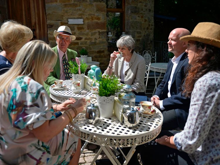 Theresa May with William Hague during an election campaign visit to a garden centre in  Yorkshire on Saturday.