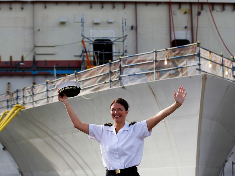 Royal Navy Leading Hand Claire Butler, the first crew member to join the aircraft carrier HMS Queen Elizabeth