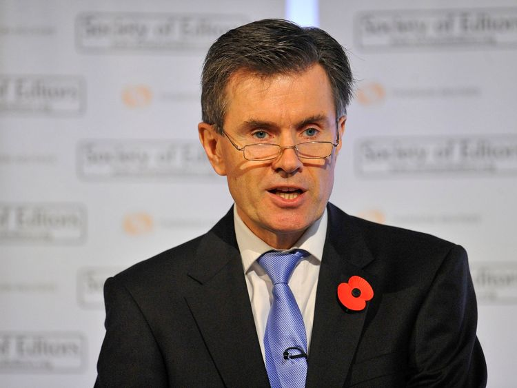 Britain's Secret Intelligence Service (SIS) Chief Sir John Sawers addresses a live televised gathering of academics, officials and editors on October 28, 2010 in in London, England