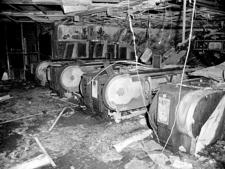 The top of the fire-damaged escalators at King's Cross underground station in London, 1987
