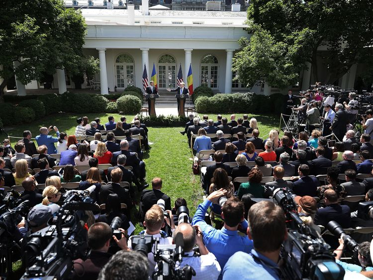 Mr Trump made the comments as he hosted the Romanian President in the White House garden
