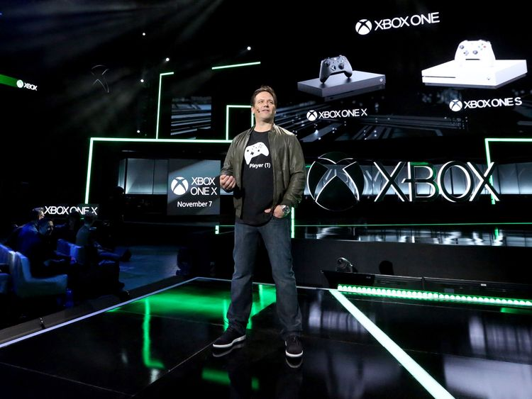 Phil Spencer, head of Xbox, discusses the new console, at E3 (Photo by Casey Rodgers/Invision for Xbox/AP Images)