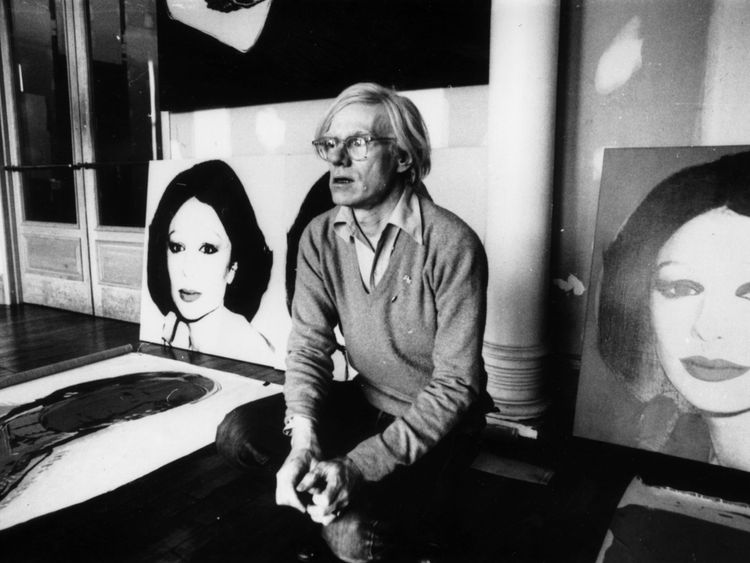 Warhol in New York with his work Princess Of Iran
