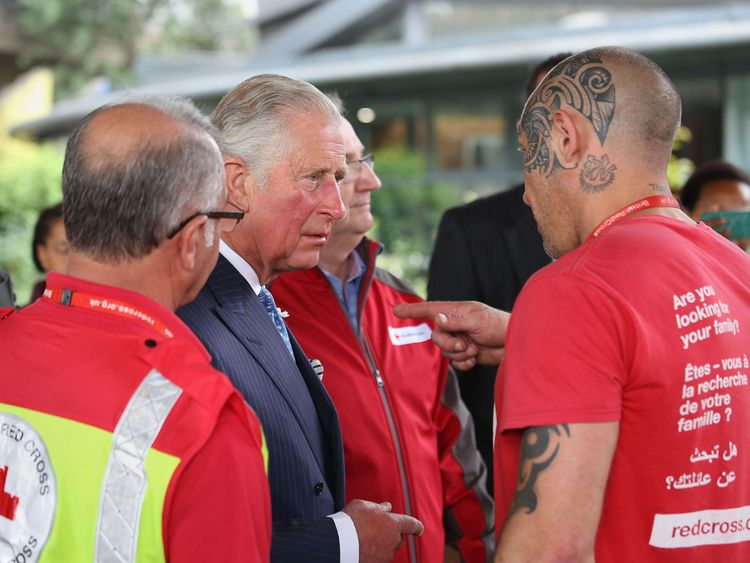 The Prince of Wales visits a relief centre helping survivors of the Grenfell Tower fire
