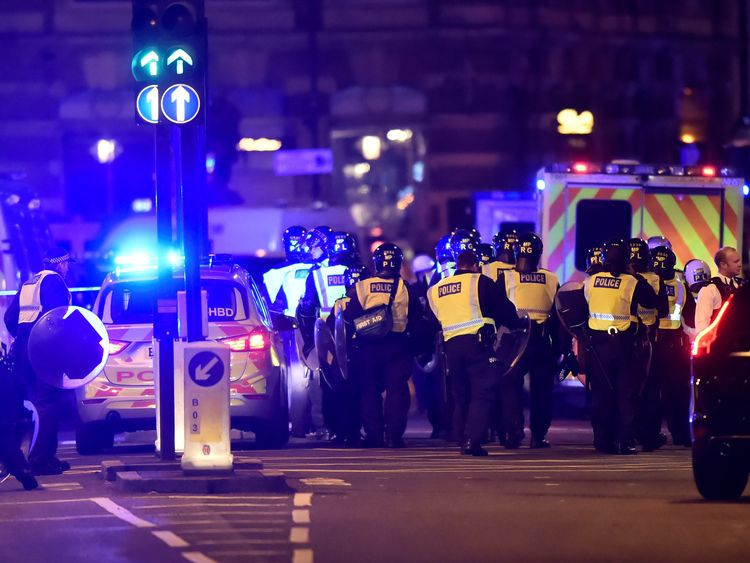 Police attend to an incident on London Bridge