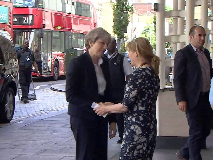 Theresa May visits victims of the Grenfell Tower fire in hospital