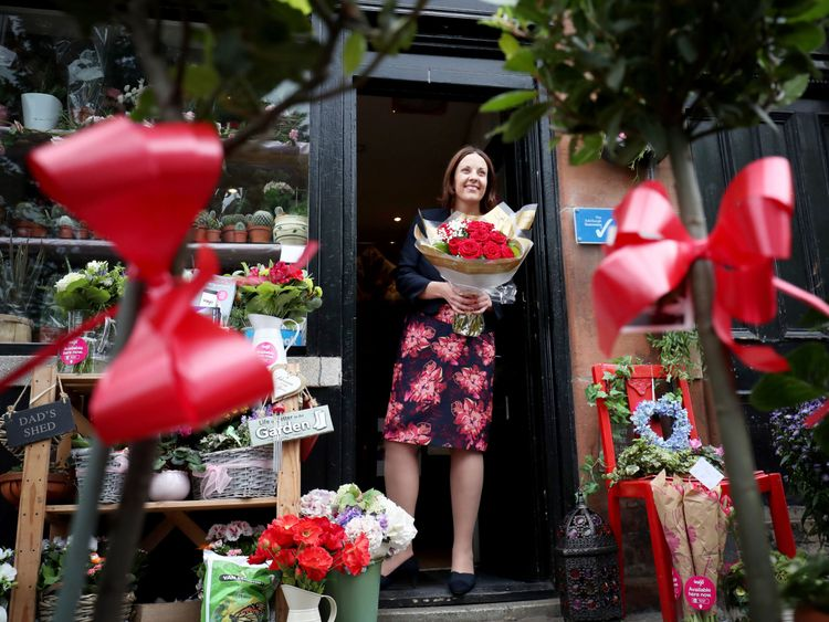 Scottish Labour leader Kezia Dugdale at the Rowan Flower and Craft shop during a General Election campaign visit in east Edinburgh