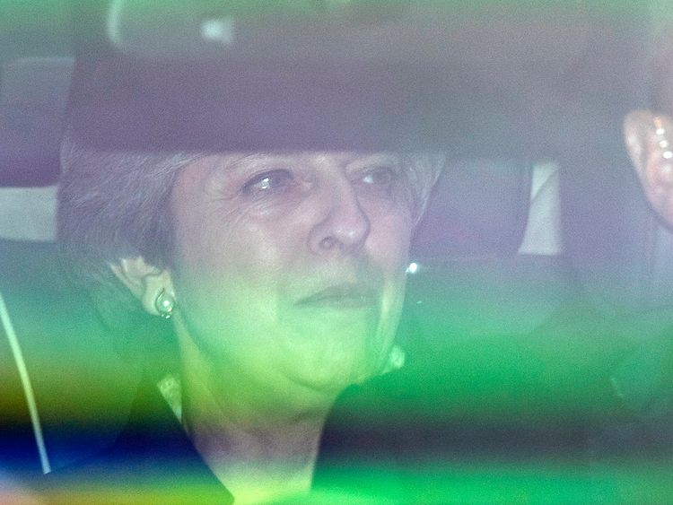 Theresa May arrives for the Queen's Speech vote