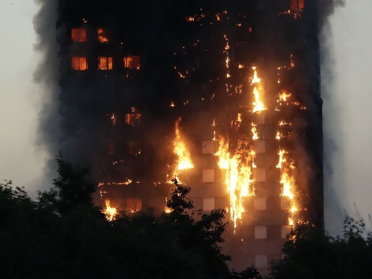 Grenfell Tower was engulfed in flames