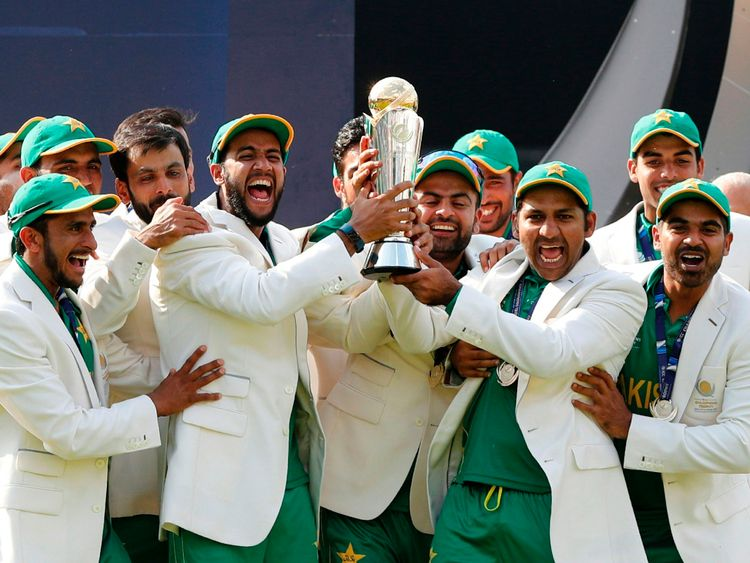 Pakistan thrashed title-holders India by 180 runs to win the Champions Trophy final at The Oval on Sunday.