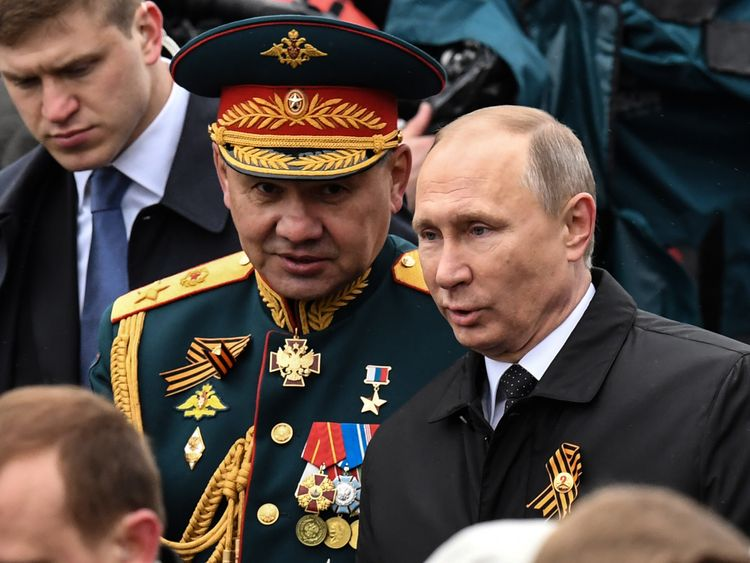 Russian defence minister Sergei Shoigu with President Putin