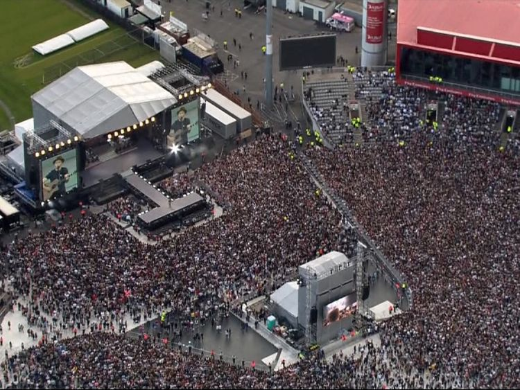 The crowd at Old Trafford for the One Love Manchester concert