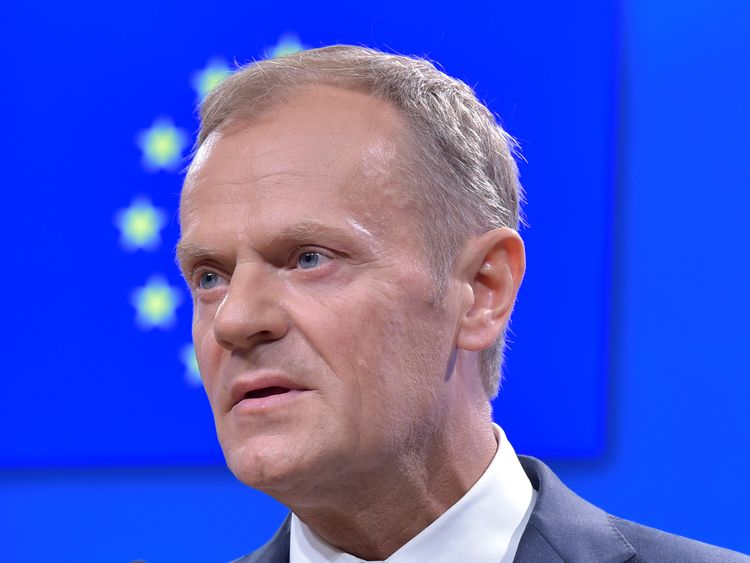 Donald Tusk gives a joint news conference with Ukrainian President Petro Poroshenko (not pictured)
