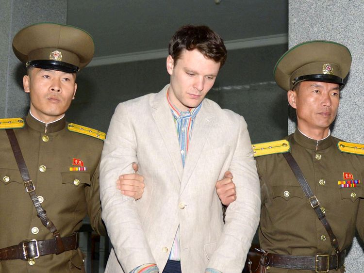Otto Frederick Warmbier being taken to North Korea's top court in Pyongyang North Korea