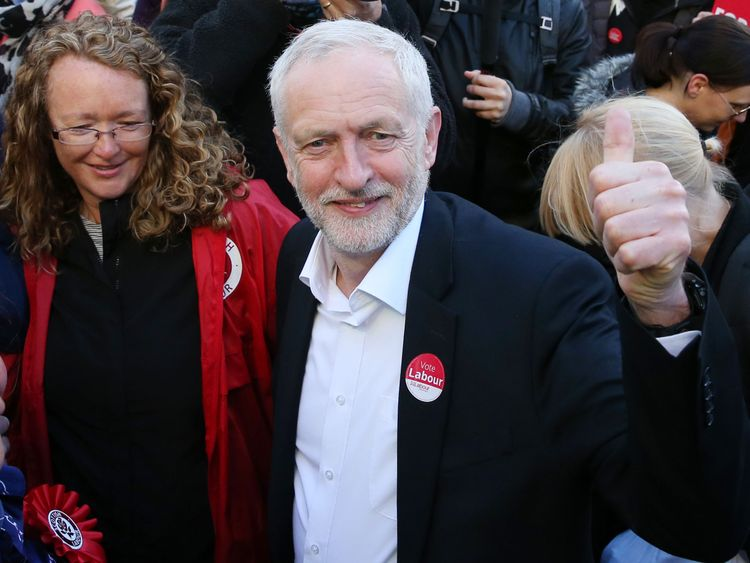 Labour leader Jeremy Corbyn at a rally in Glasgow