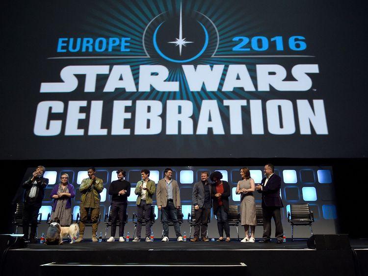Mark Hamill, Carrie Fisher, John Boyega, Alden Ehrenreich, Phil Lord, Chris Miller, Rian Johnson and Kathleen Kennedy at the Star Wars Celebration