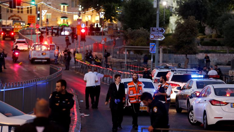 Israeli police following the two attacks near Damascus Gate