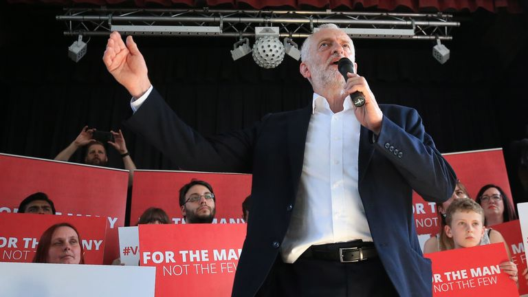 Labour leader Jeremy Corbyn campaigns in Beeston, Nottinghamshire