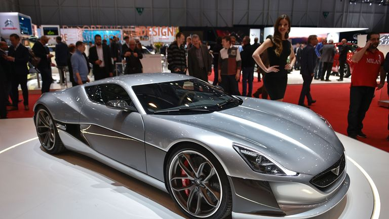 The Rimac Concept One electric car is displayed at the Geneva Motor Show