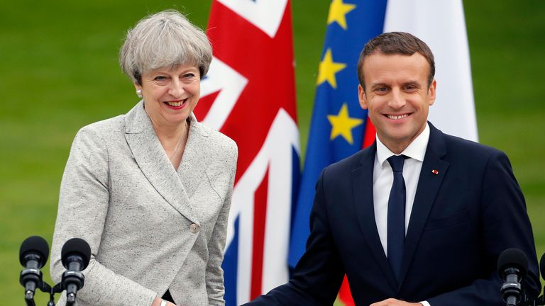 Theresa May meets French president Emmanuel Macron in Paris