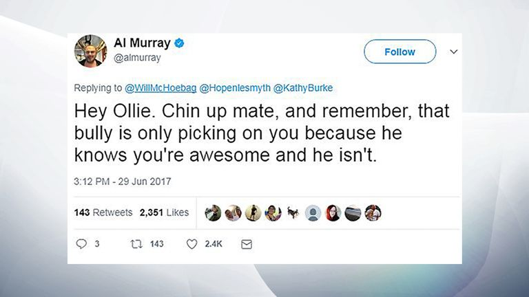 Twitter of @almurray of a reply by Al Murray to an appeal for birthday messages for Chris Hope-Smith's son Ollie
