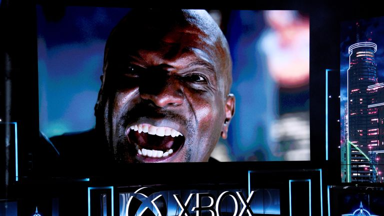"""Actor Terry Crews makes a guest appearance in a trailer from the video game """"Crackdown"""" is shown during..."""