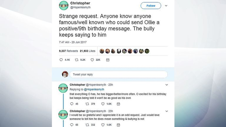 Twitter of @Hopenlesmyth of an appeal for birthday messages for Chris Hope-Smith's son Ollie who is being bullied which has gone viral