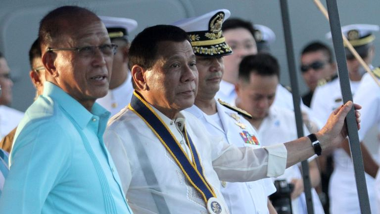 Mr Duterte made the comments at a naval event