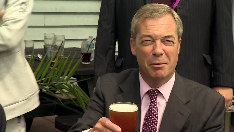 Nigel Farage enjoys a Pint in South Thanet