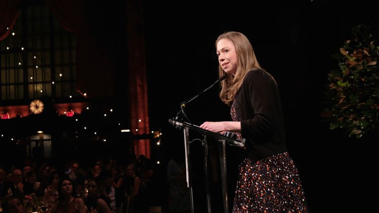 Chelsea Clinton speaking at an event in New York
