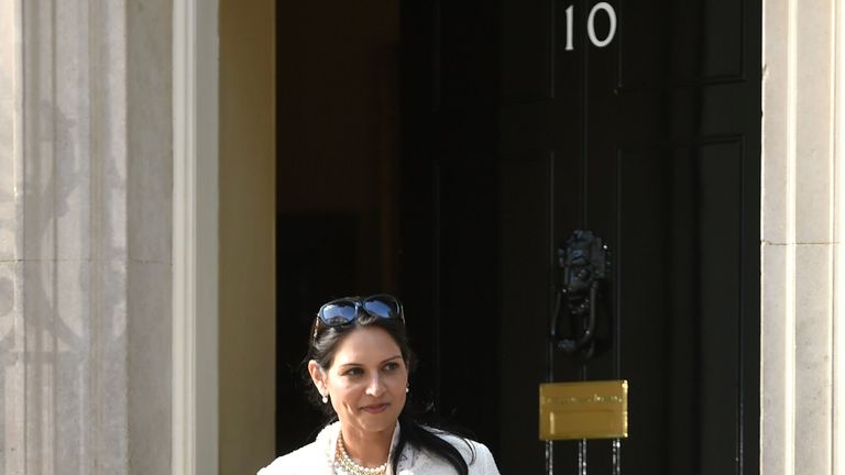 Priti Patel comes out of Number 10 during Theresa May's Cabinet reshuffle
