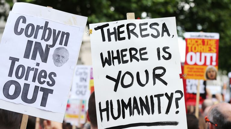 Protests have taken place in Whitehall as survivors met with the PM at Downing Street