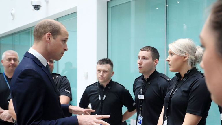 Prince William at the Greater Manchester Police headquarters