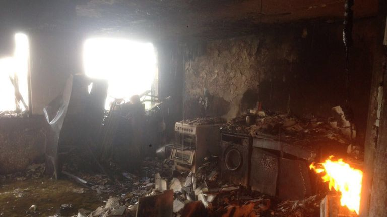 Grenfell tower interior. Pic: Declan Wilkes