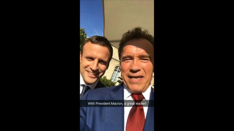 Arnold Schwarzenegger has posted a nice selfie video with French President Macron. Pic: @Schwarzenegger