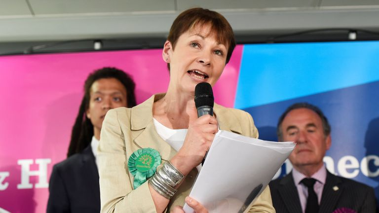 Caroline Lucas, co-leader of Britain's Green Party, speaks after retaining her seat in Brighton