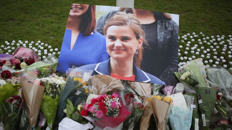 Tributes are left in memory of Jo Cox MP on Parliament Square on June 17, 2016 in London, United Kingdom