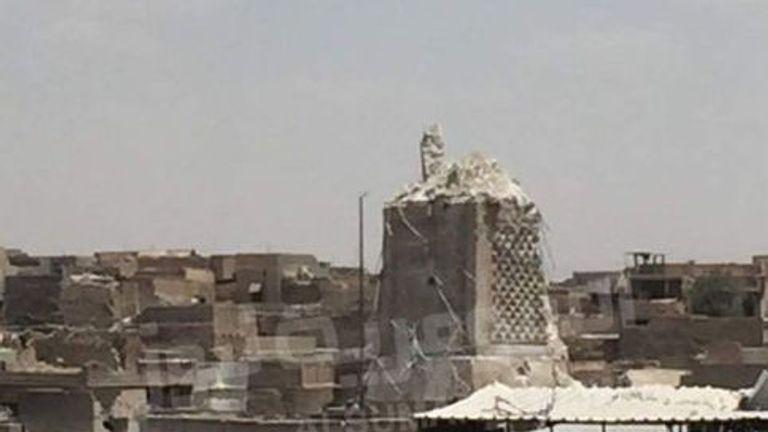 Mosul's destroyed Al-Hadba minaret at Grand al-Nuri Mosque