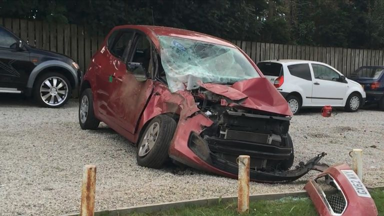 One of the cars that was damaged. Pic: Cornwall Live