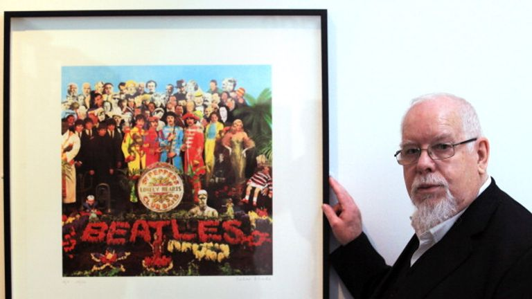 Peter Blake with a copy of The Beatles Sgt Pepper album cover