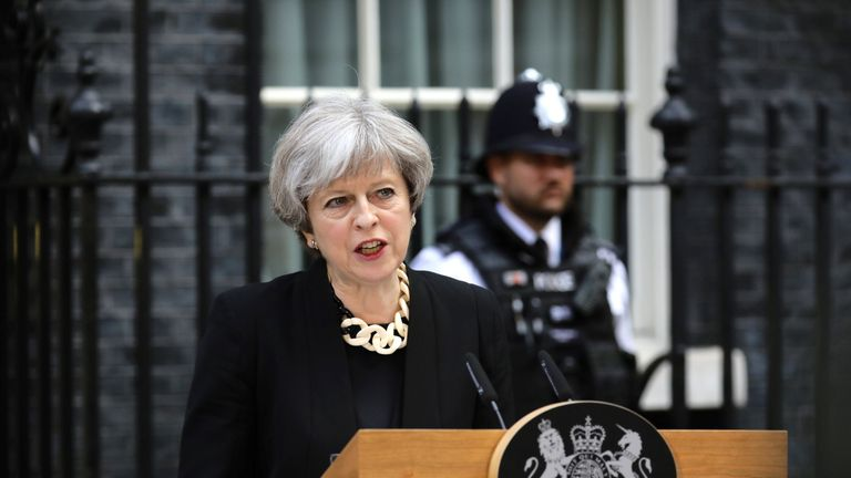 Theresa May speaks outside 10 Downing Street