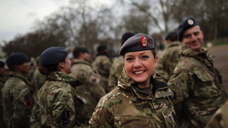 Military personnel prepare to march into the Houses of Parliament on January 26, 2015 in London, England