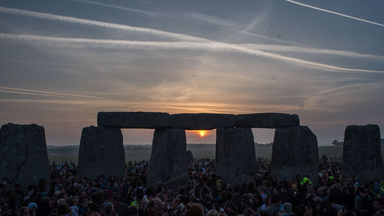 Thousands gathered to watch the sunrise at Stonehenge