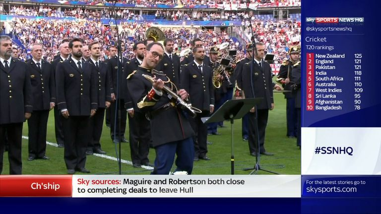 One of the band's members took the lead on guitar. Pic: ITV Sport