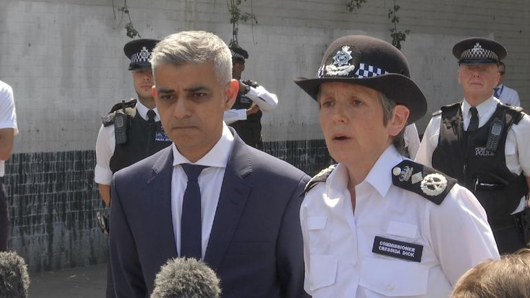 Sadiq Khan and Cressida Dick speak at scene of terror attack in Finsbury Park