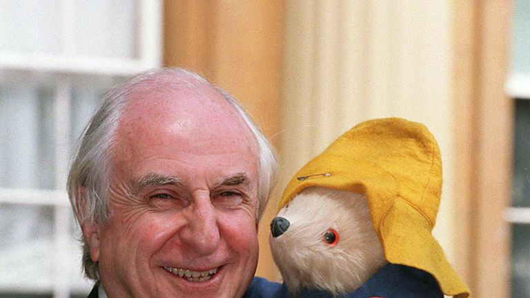 Author Michael Bond and his creation, Paddington Bear
