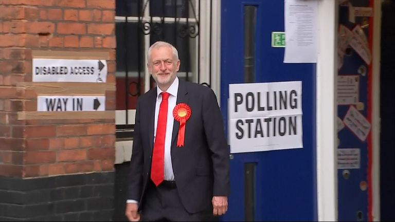 Jeremy Corbyn at a polling station in his north London constituency