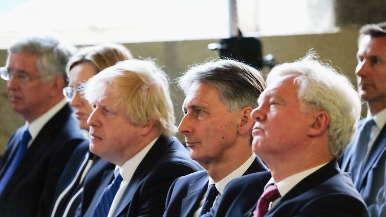 Sir Michael Fallon, Amber Rudd, Boris Johnson, Philip Hammond and David Davis listen to the PM during the election campaign